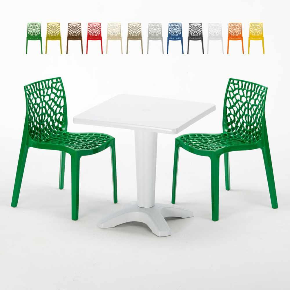 Weiß Quadratisch Tisch und 2 Stühle Farbiges Polypropylen-Innenmastenset Grand Soleil Gruvyer Patio - sales