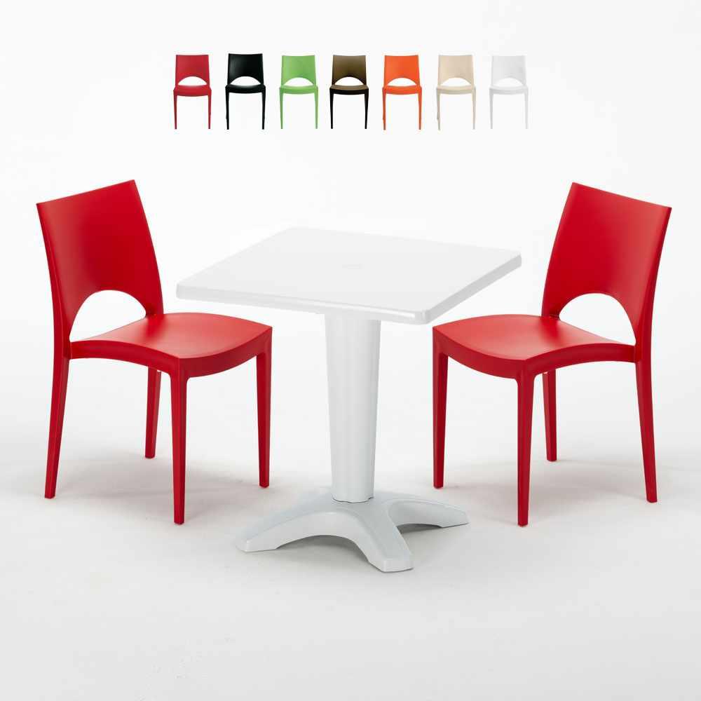 Weiß Quadratisch Tisch und 2 Stühle Farbiges Polypropylen-Innenmastenset Grand Soleil Paris Patio - image