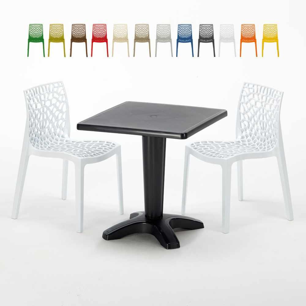 Schwarz Quadratisch Tisch und 2 Stühle Farbiges Polypropylen-Innenmastenset Grand Soleil Gruvyer Aia - promo