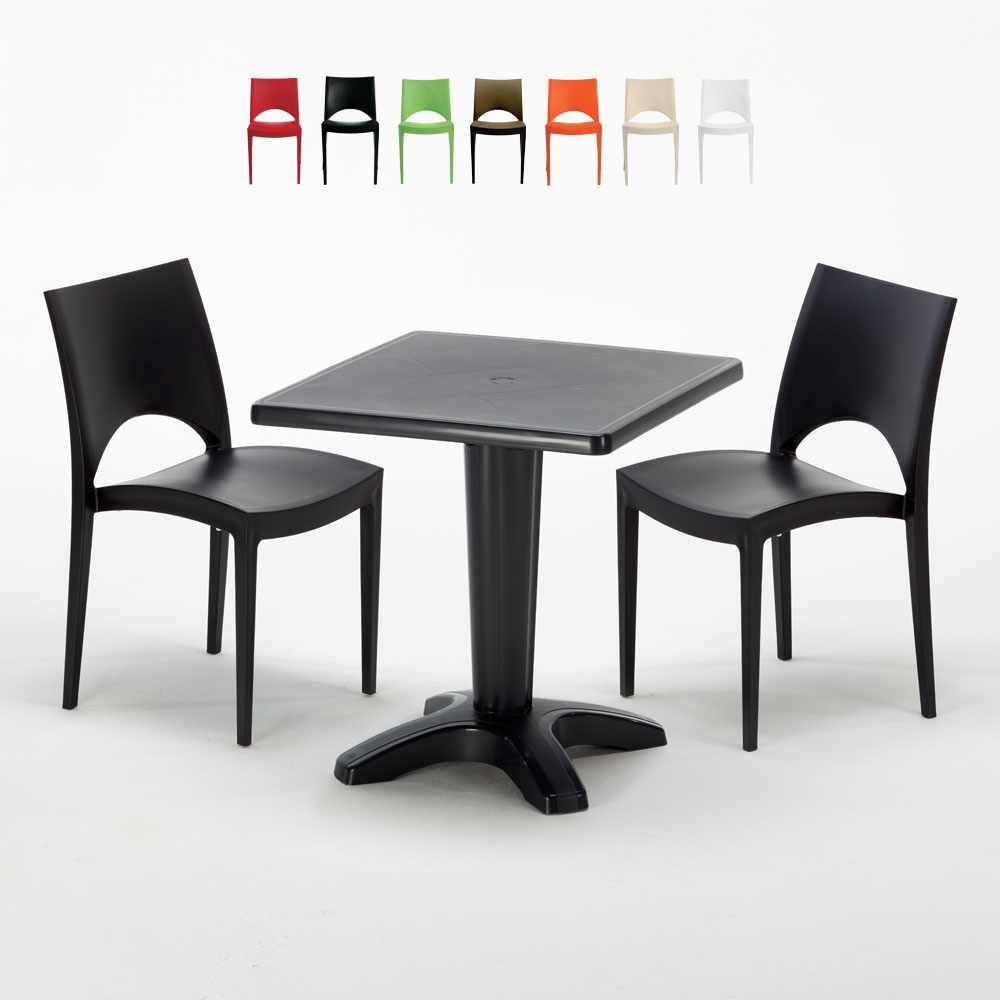 Schwarz Quadratisch Tisch und 2 Stühle Farbiges Polypropylen-Innenmastenset Grand Soleil Paris Aia - indoor