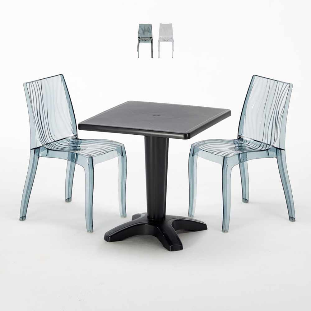 Schwarz Quadratisch Tisch und 2 Stühle Farbiges Polypropylen-Innenmastenset Grand Soleil Dune Balcony - forniture
