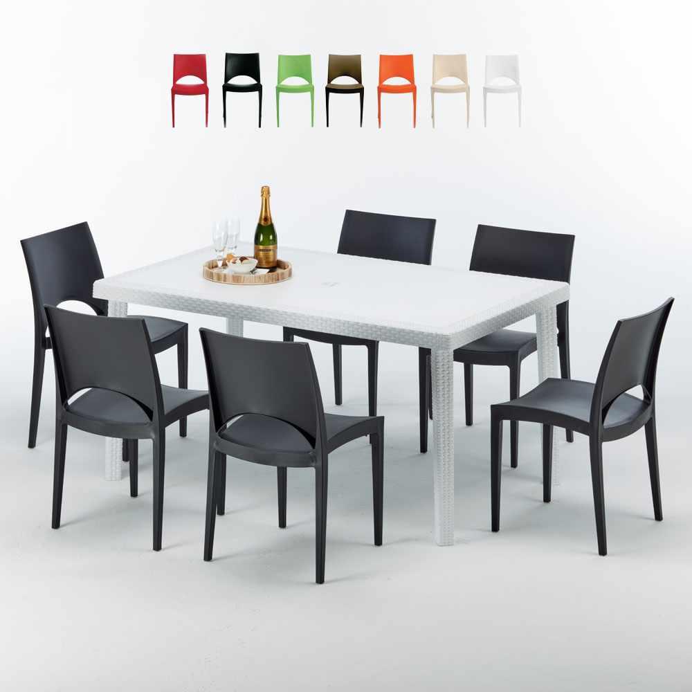 Weiß Rechteckig Tisch und 6 Stühle Farbiges Polypropylen-Außenmastenset Grand Soleil Paris Summerlife - am besten
