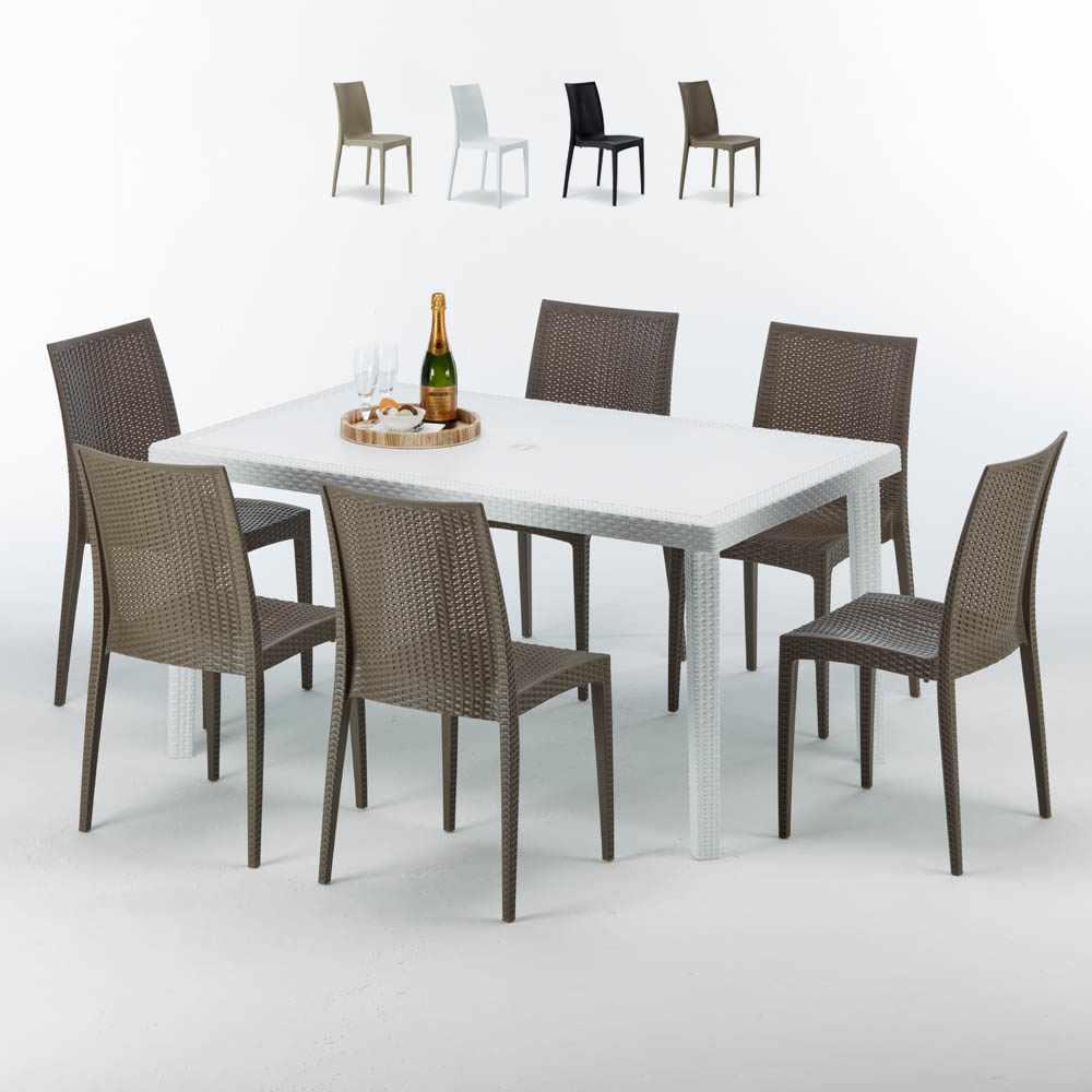 Weiß Rechteckig Tisch und 6 Stühle Farbiges Polypropylen-Außenmastenset Grand Soleil Bistrot Summerlife - Bild