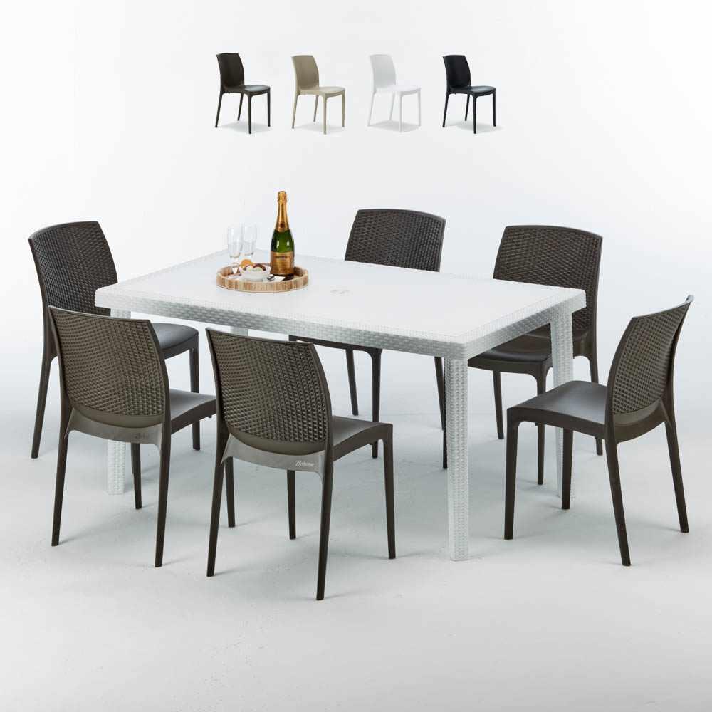 Weiß Rechteckig Tisch und 6 Stühle Farbiges Polypropylen-Außenmastenset Grand Soleil Boheme Summerlife - Exterieur