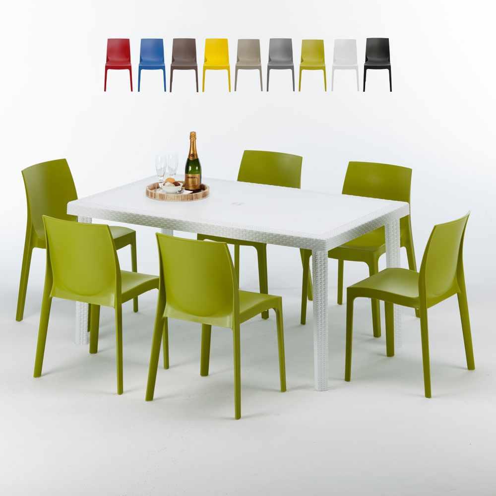 Weiß Rechteckig Tisch und 6 Stühle Farbiges Polypropylen-Außenmastenset Grand Soleil Rome Summerlife - Angebot