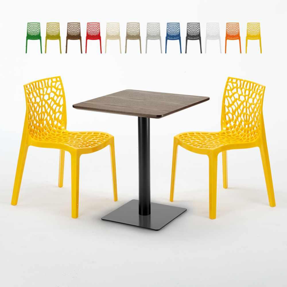 Quadratisch Tisch Holzeffekt und Schwarz Stahlfuß 60x60 cm mit 2 Bunten Stühlen Gruvyer Kiss - Detail