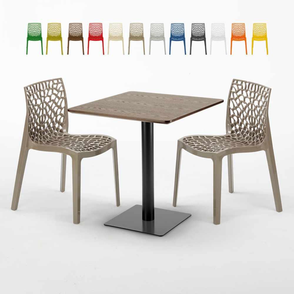 Quadratisch Tisch Holzeffekt 70x70 cm mit 2 Bunten Stühlen Gruvyer Melon - Verkauf