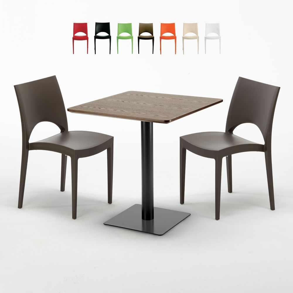 Quadratisch Tisch Holzeffekt 70x70 cm mit 2 Bunten Stühlen Paris Melon - Interieur