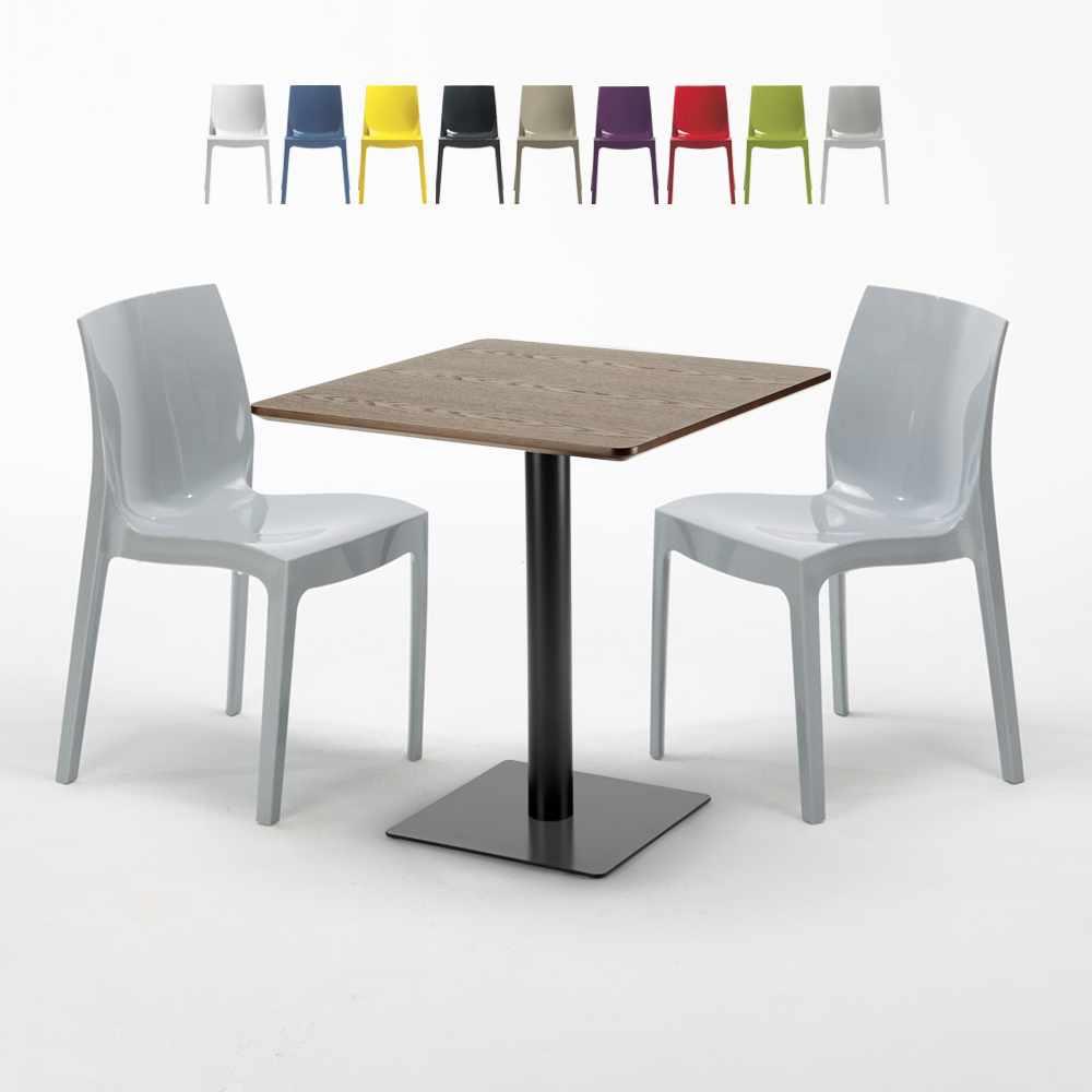 Quadratisch Tisch Holzeffekt 70x70 cm mit Bunten Stühlen Ice Melon - promo