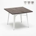 Tolix Industrie-Stil Tisch Stahl Holz 80x80 für Pub Esszimmer Allen