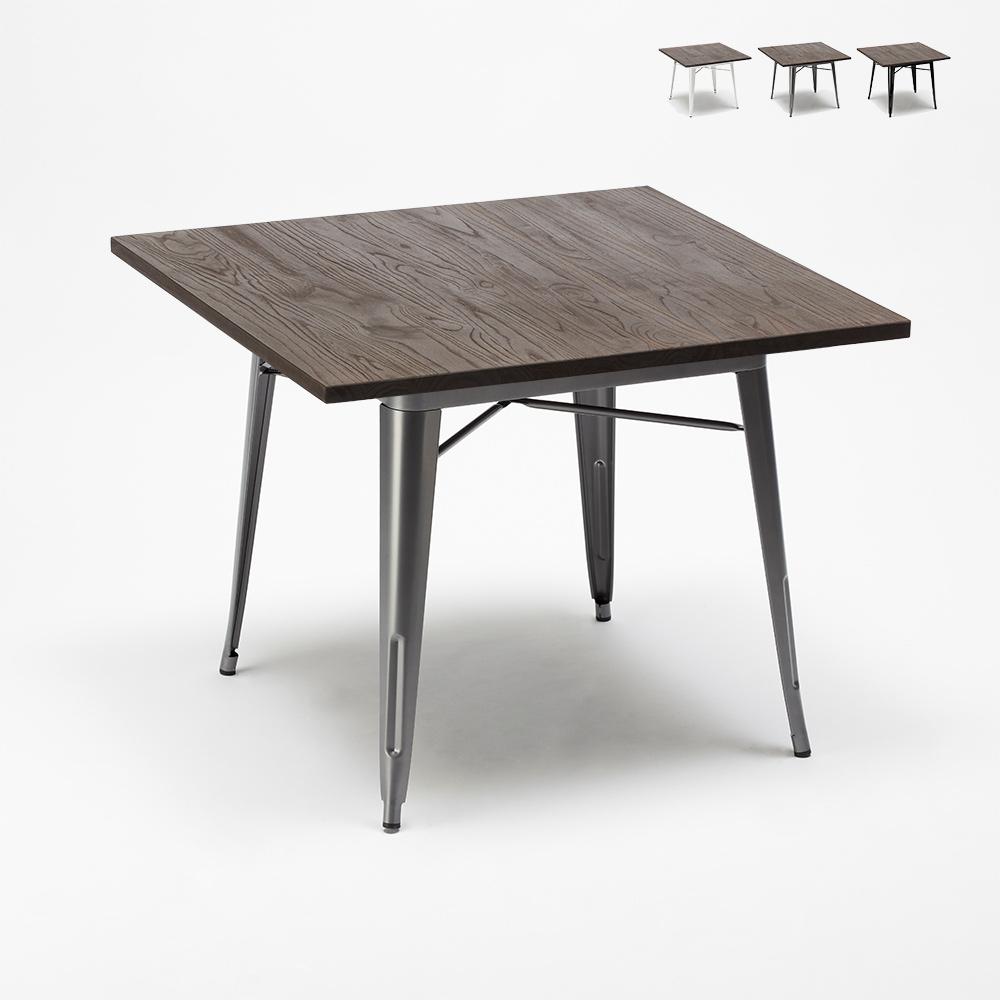 Tolix Industrie-Stil Tisch Stahl Holz 80x80 für Pub Esszimmer Allen - Möbel