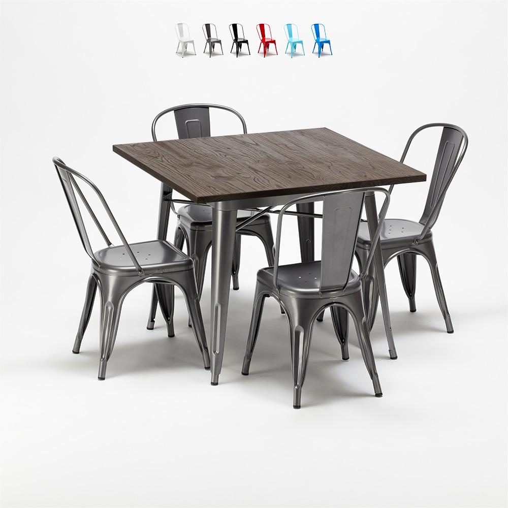 Quadratische Tisch und Stühle In Metalldesign Tolix Industrial Jamaica - Bilder