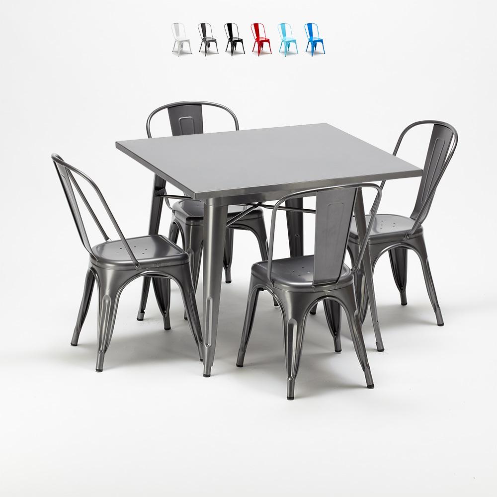 Quadratischer Tisch und industrielle Metallstühle im Tolix-Stil Flushing - promo