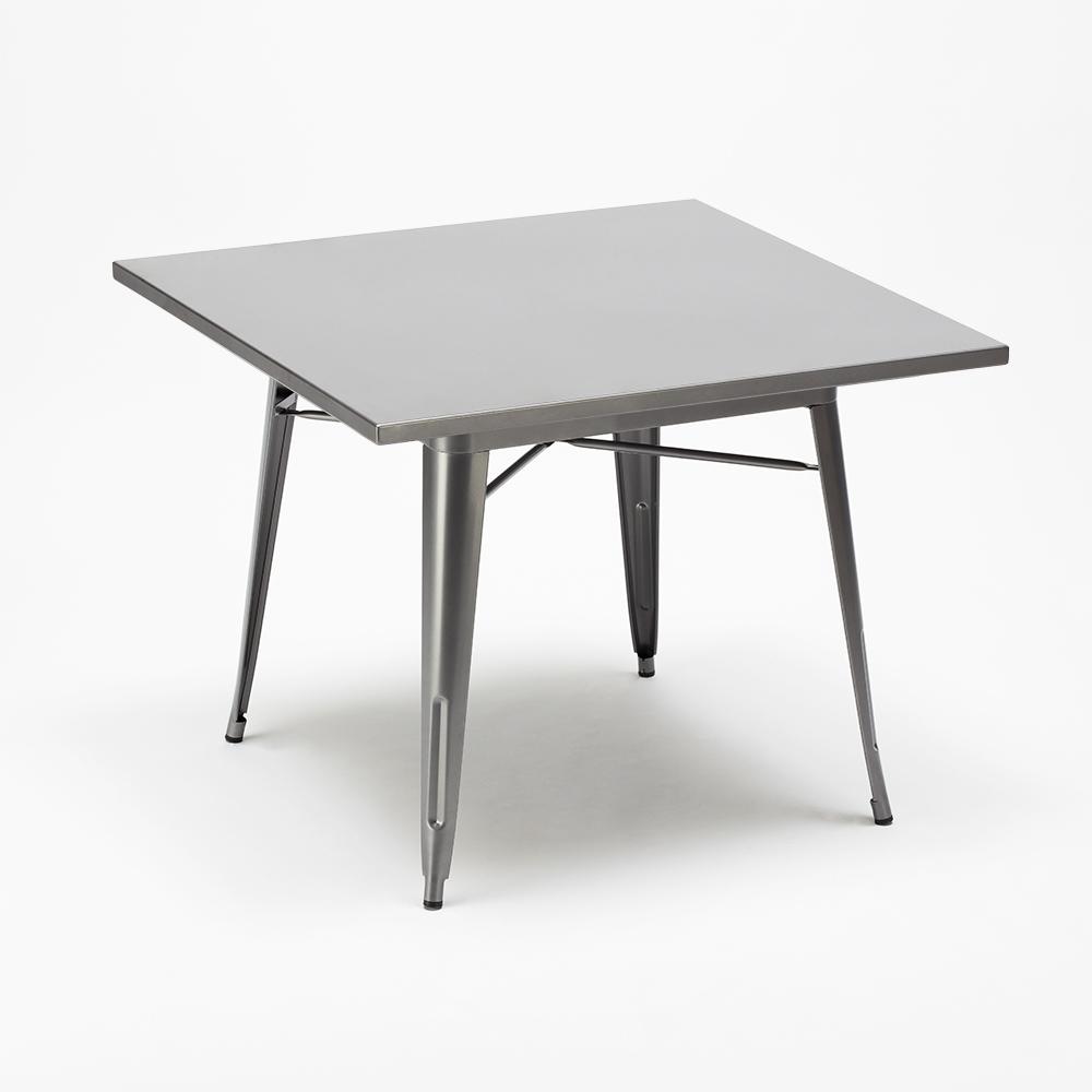 Flushing: Tavolo quadrato e sedie in metallo stile Tolix ...