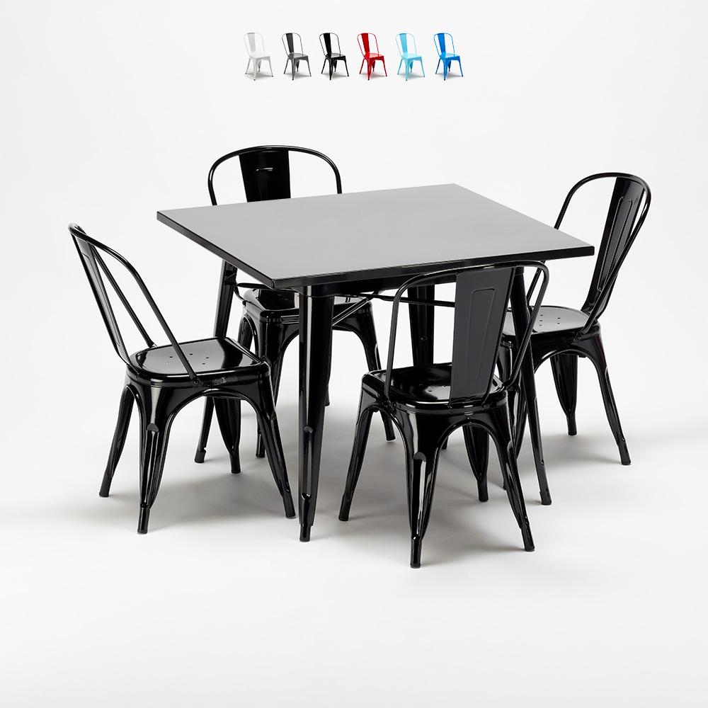 Soho Tavolo Quadrato In Legno E Sedie In Metallo Stile Tolix Industriale