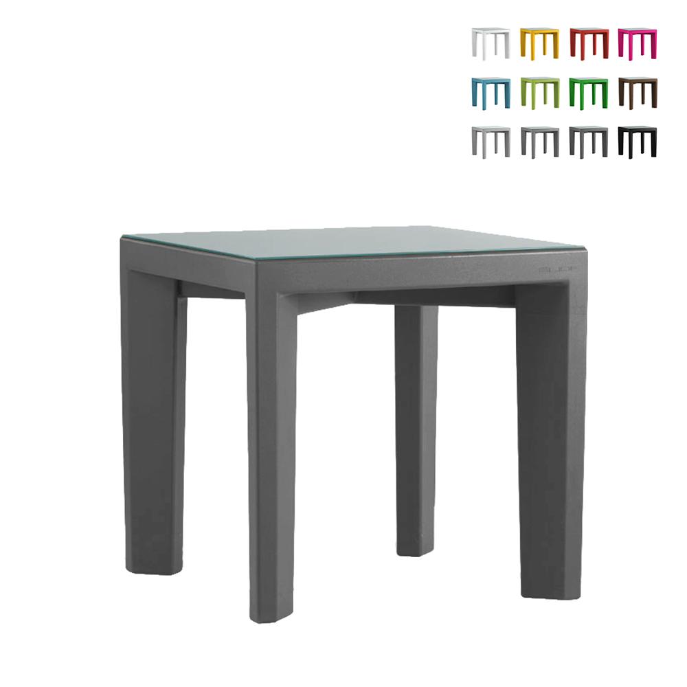 Quadratischer Tisch 75x75 Slide Glasplatte für Bar Restaurant Garten Gino - Bilder