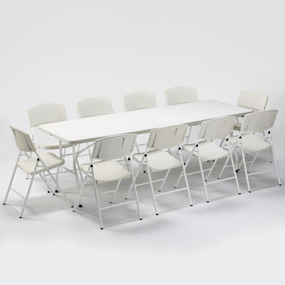 Set Rechteckigen Tisch 240x76 und 10 Klappstühle Campinggarten Rushmore - Exterieur