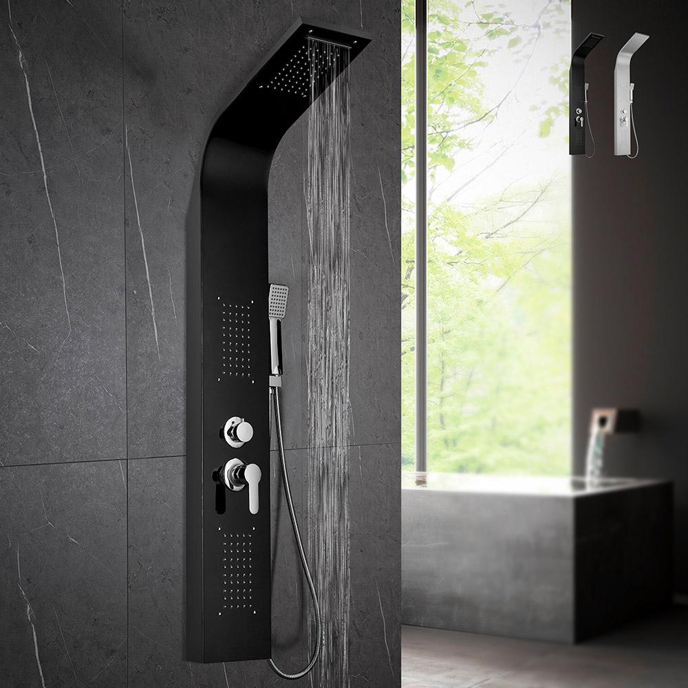 Stahl-Duschsäulenplatte mit Hydromassage-Wasserfall-Duschmischer Monticelli - Bild
