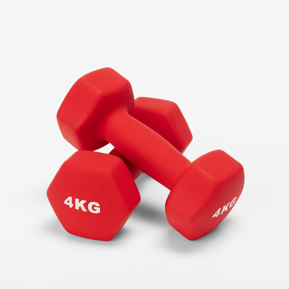 Paar 2 x 4 kg Hanteln Fitnessstudio und Fitness Vinyl Megara - Interieur