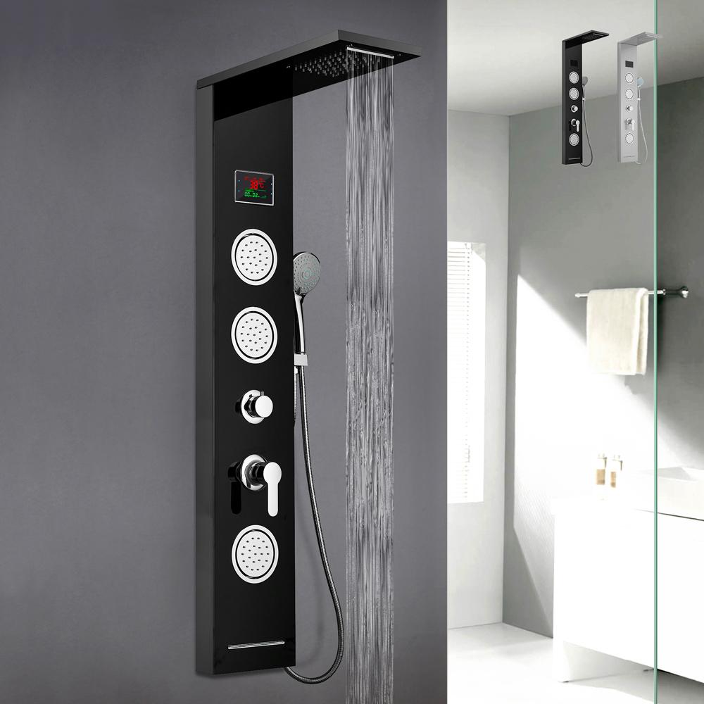 Stahlduschsäulenverkleidung mit LED-Display-Hydromassage-Wasserfallmischer Abano - am besten