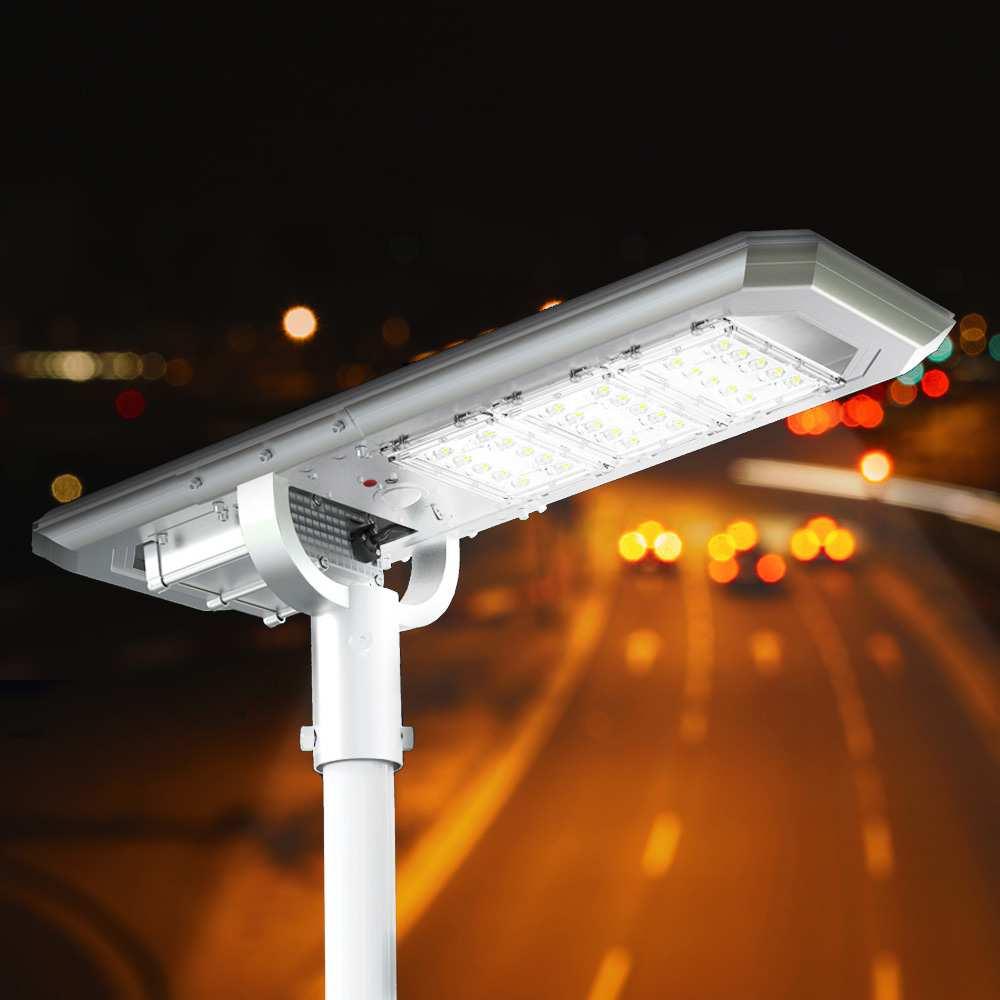 Solar Led Straßenlampe 3000 Lumen mit Integriertem 21,6-W-Solarpanel und Sensor Terminator - Möbel