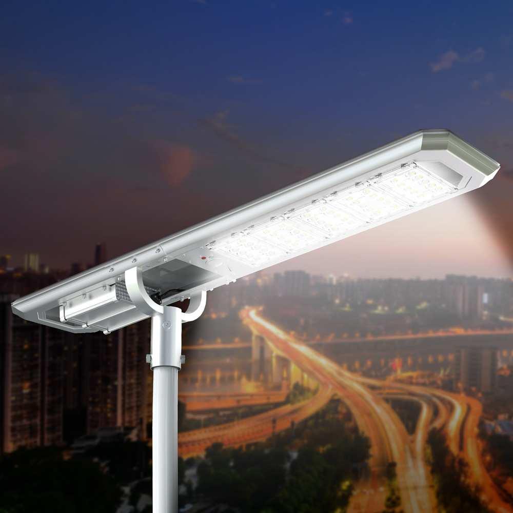 Solar Led Straßenlampe 5000 Lumen mit Aufgestellten Solarkollektor für Parkplätze Gärten Straßen Goldrake - Interieur